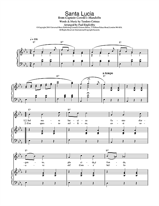Traditional Santa Lucia sheet music notes and chords