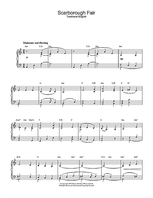 Traditional Scarborough Fair sheet music notes and chords