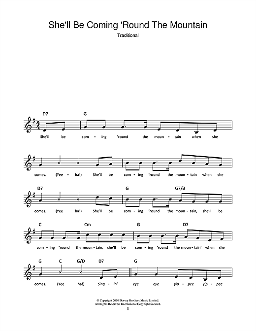 Traditional She'll Be Coming 'Round The Mountain sheet music notes and chords. Download Printable PDF.