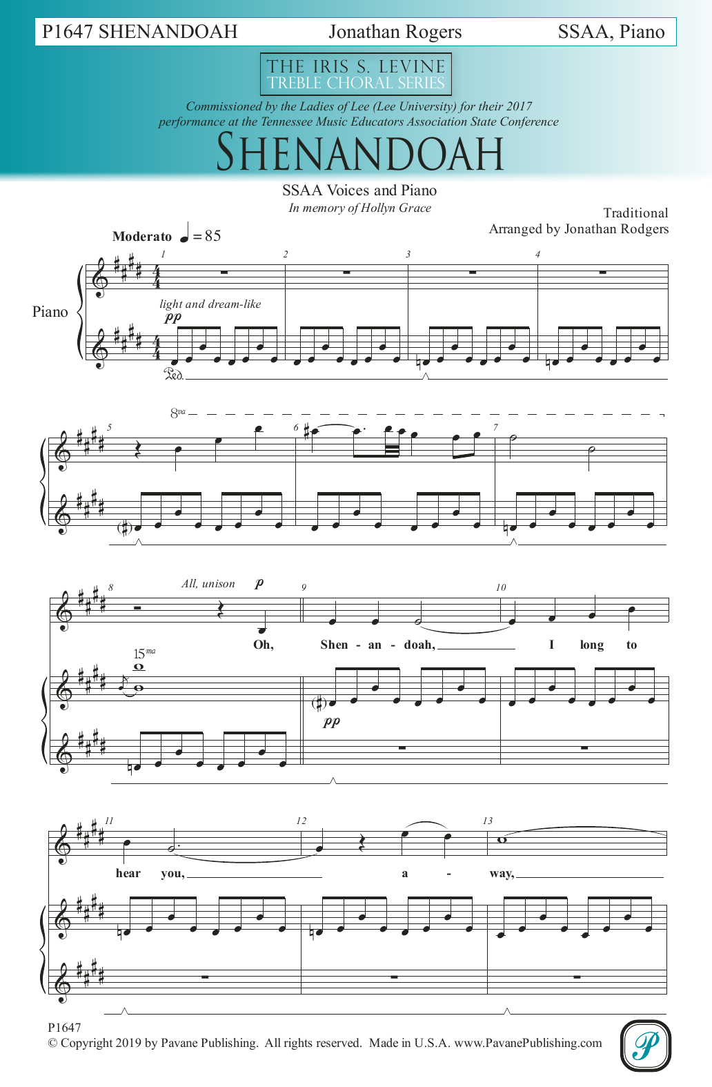 Traditional Shenandoah (arr. Jonathan Rodgers) sheet music notes and chords. Download Printable PDF.
