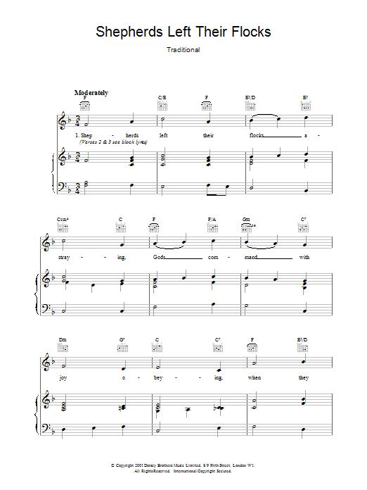 Christmas Carol Shepherds Left Their Flocks sheet music notes and chords. Download Printable PDF.
