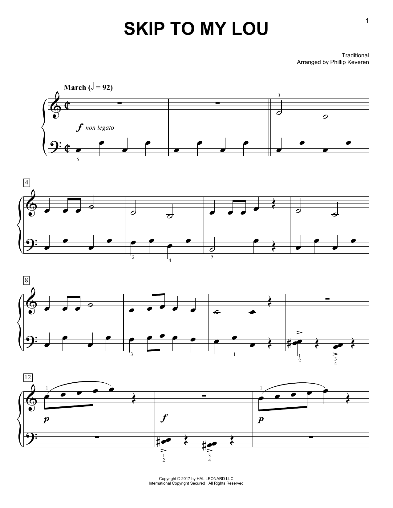 Traditional Skip To My Lou [Classical version] (arr. Phillip Keveren) sheet music notes and chords. Download Printable PDF.