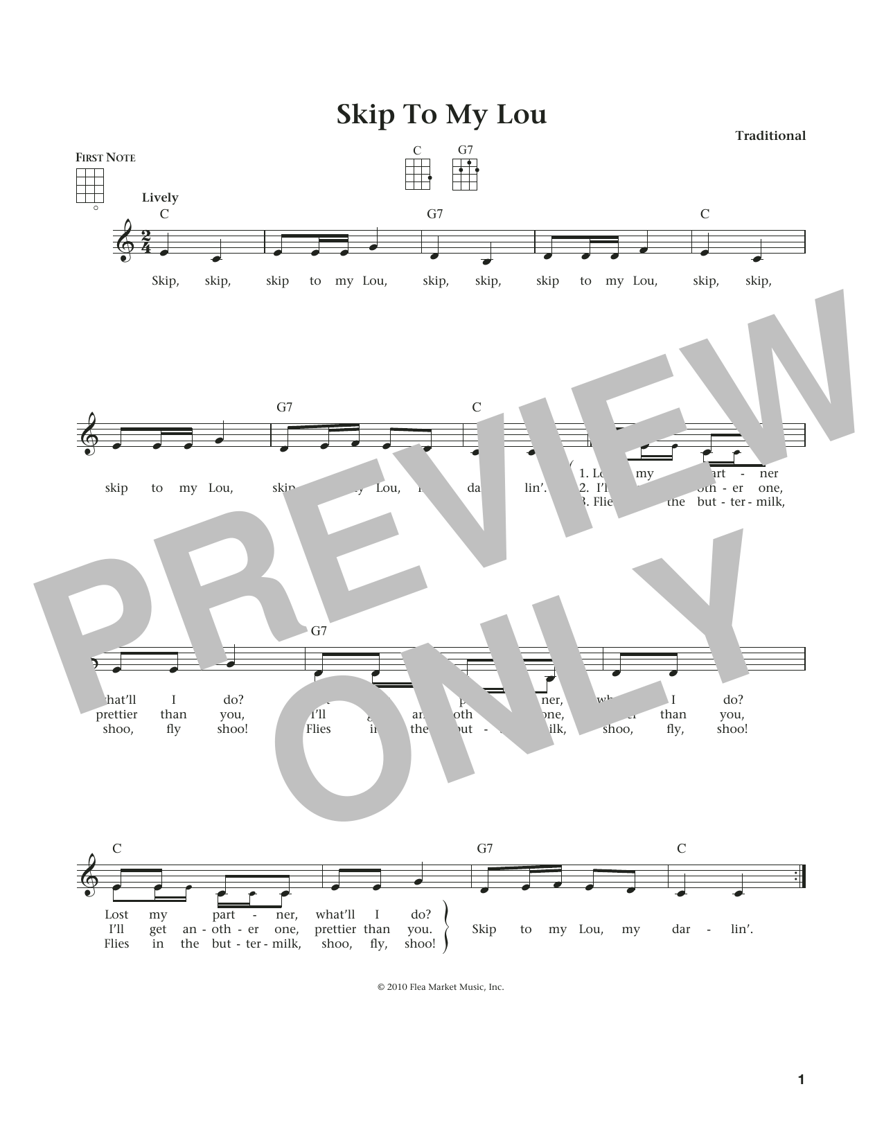 Traditional Skip To My Lou (from The Daily Ukulele) (arr. Liz and Jim Beloff) sheet music notes and chords. Download Printable PDF.