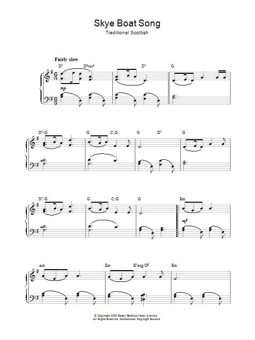 Traditional Skye Boat Song sheet music notes and chords. Download Printable PDF.