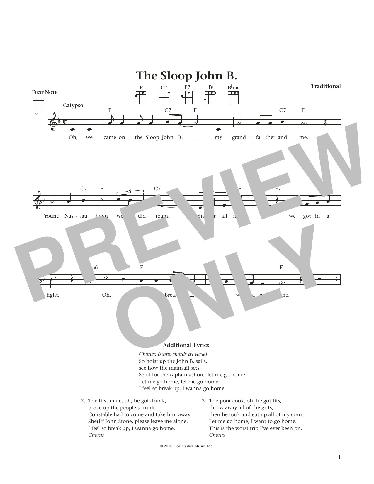 Traditional Sloop John B. (from The Daily Ukulele) (arr. Liz and Jim Beloff) sheet music notes and chords. Download Printable PDF.
