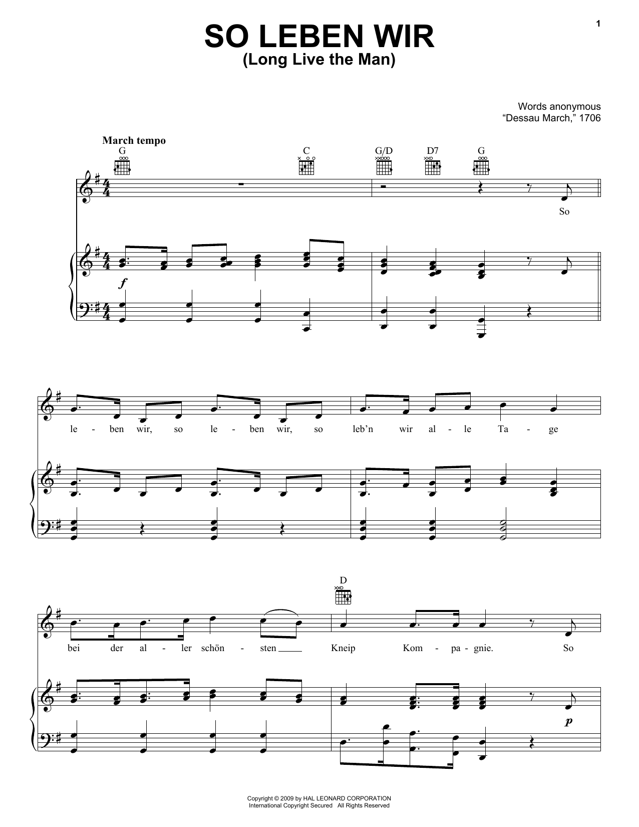 Traditional So Leben Wir (Long Live The Man) sheet music notes and chords. Download Printable PDF.