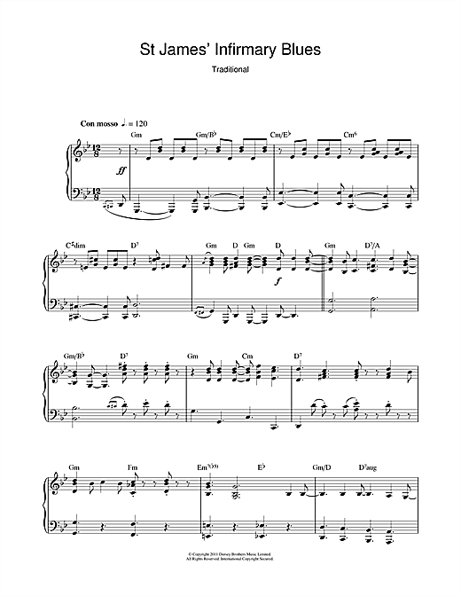 Traditional St James' Infirmary Blues sheet music notes and chords. Download Printable PDF.