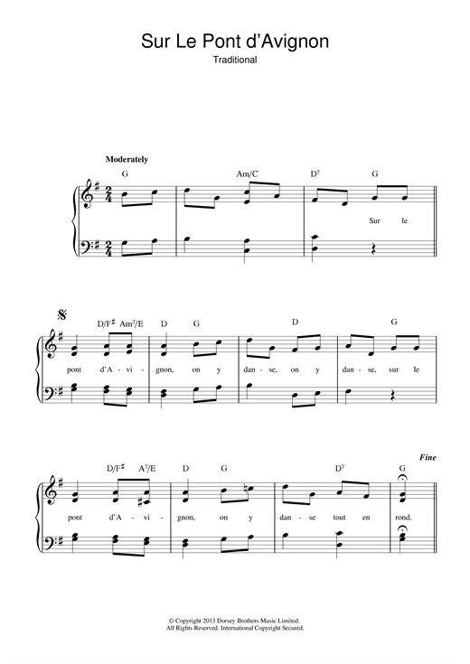 Traditional Sur Le Pont D'Avignon sheet music notes and chords. Download Printable PDF.