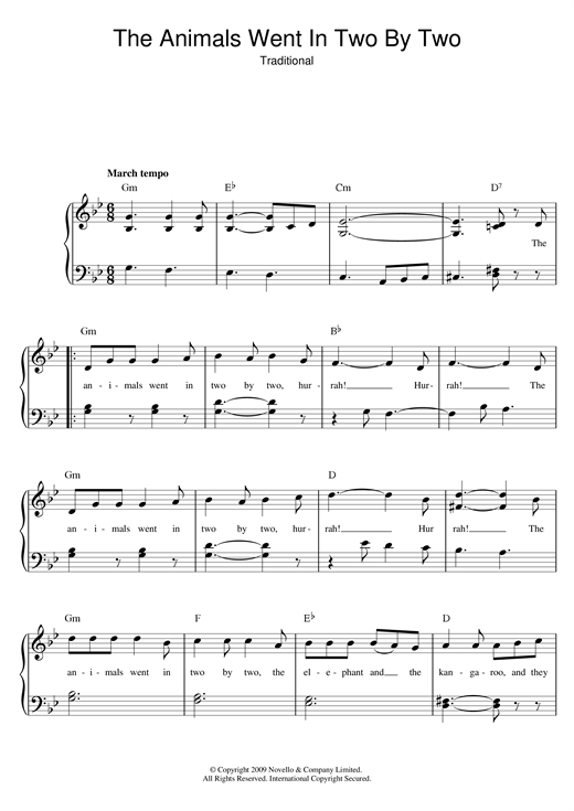 Traditional The Animals Went In Two By Two sheet music notes and chords. Download Printable PDF.