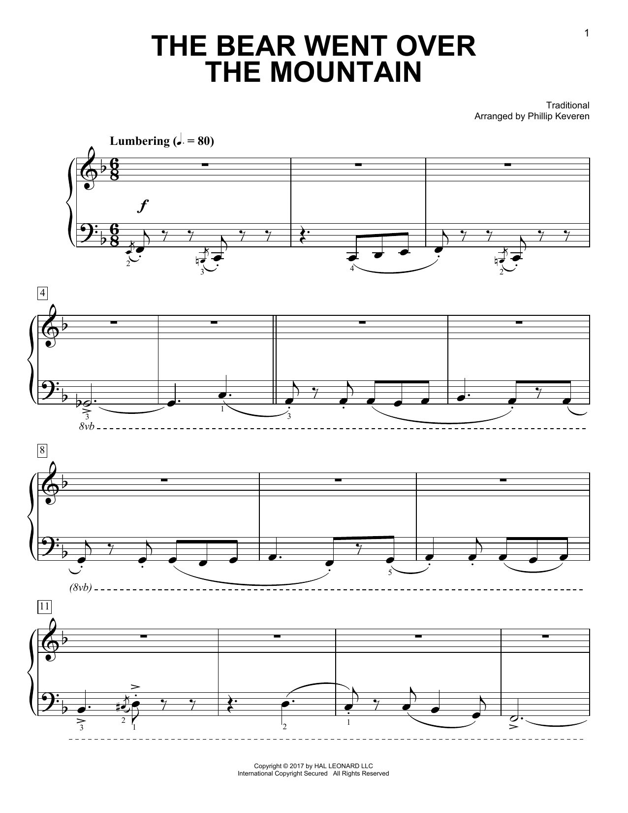 Traditional The Bear Went Over The Mountain [Classical version] (arr. Phillip Keveren) sheet music notes and chords. Download Printable PDF.