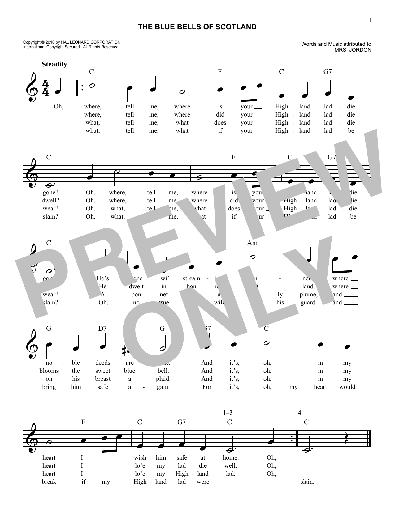Traditional The Blue Bells Of Scotland sheet music notes and chords. Download Printable PDF.