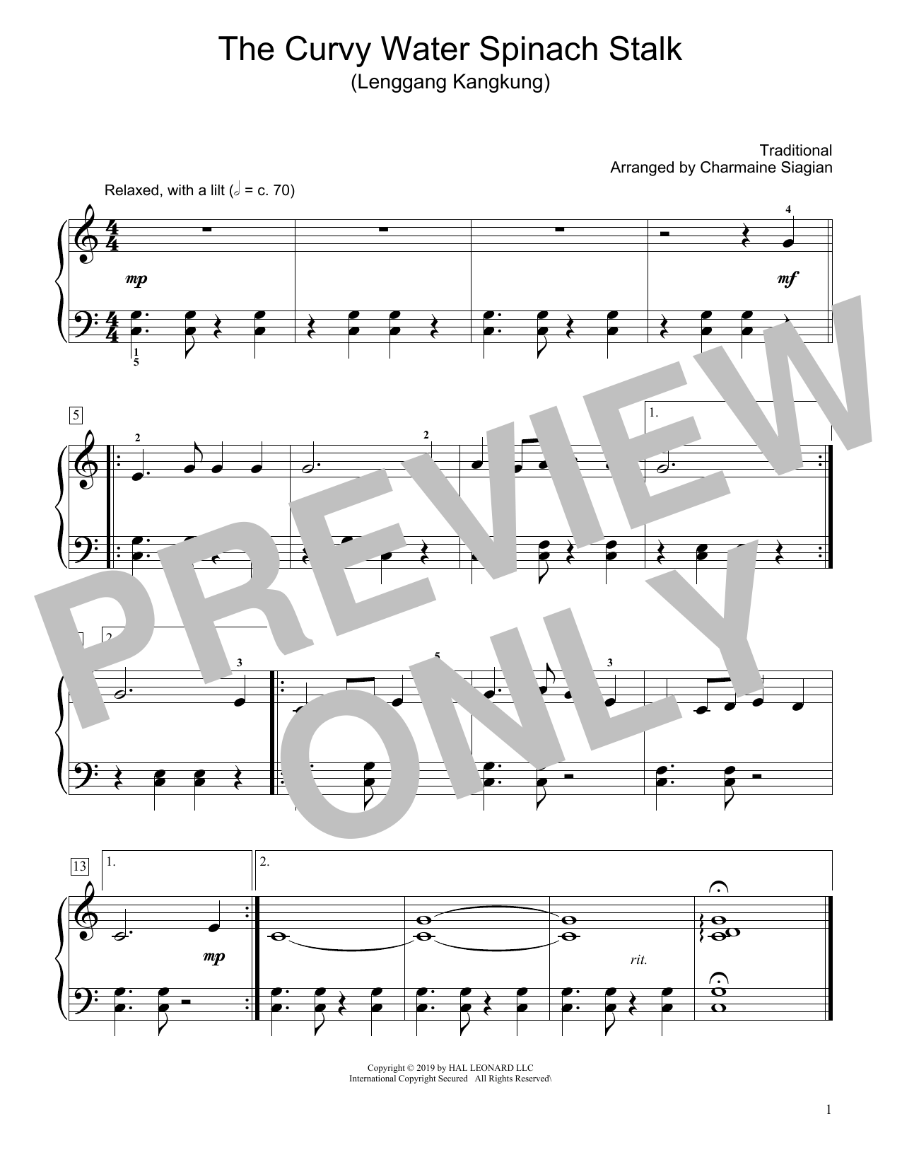 Traditional The Curvy Water Spinach Stalk (Lenggang Kangkung) (arr. Charmaine Siagian) sheet music notes and chords. Download Printable PDF.
