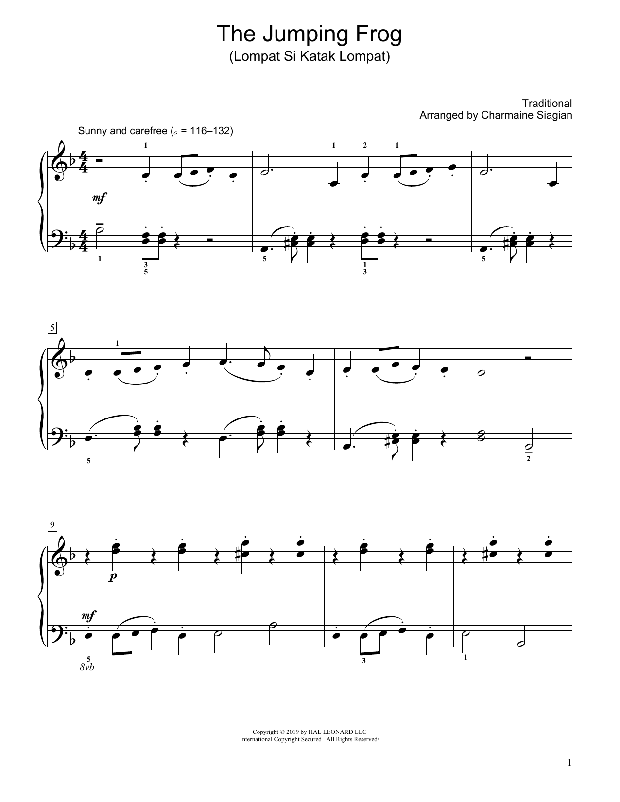 Traditional The Jumping Frog (Lompat Si Katak Lompat) (arr. Charmaine Siagian) sheet music notes and chords. Download Printable PDF.