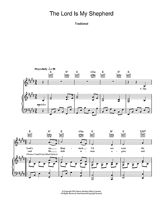 Traditional The Lord Is My Shepherd Sheet Music Pdf Notes Chords Traditional Score Piano Vocal Guitar Right Hand Melody Download Printable Sku 107555