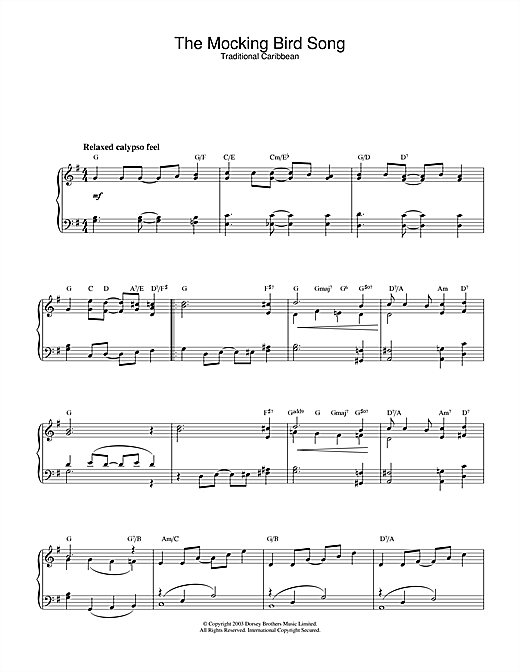 Traditional The Mocking Bird Song sheet music notes and chords. Download Printable PDF.