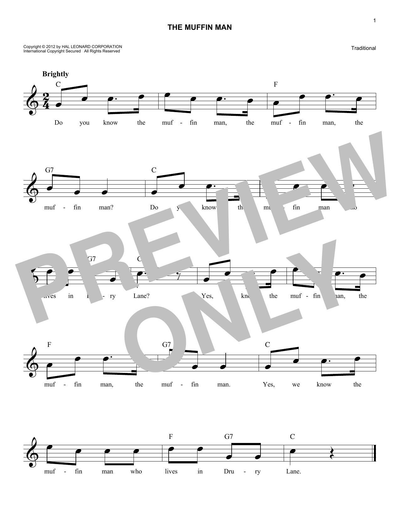 Traditional The Muffin Man sheet music notes and chords. Download Printable PDF.