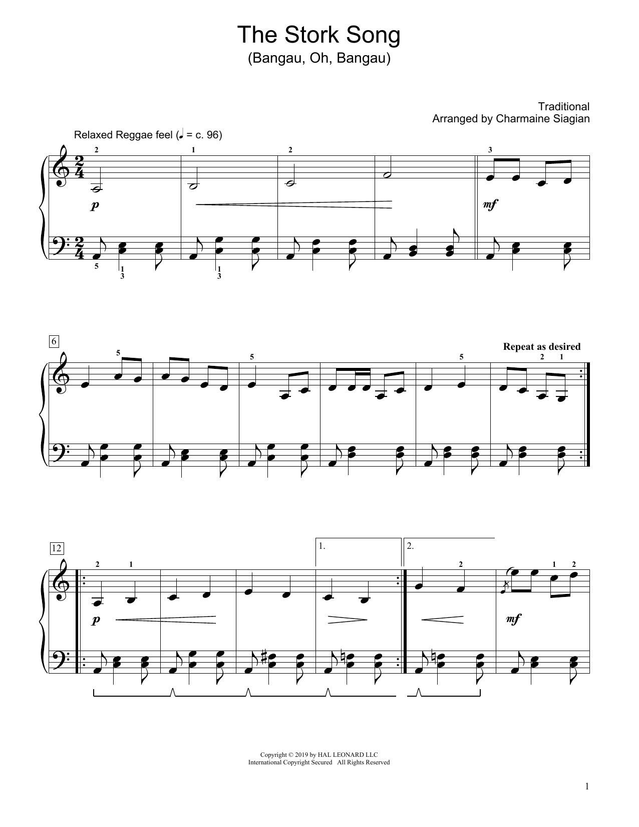 Traditional The Stork Song (Bangau Oh Bangau) (arr. Charmaine Siagian) sheet music notes and chords. Download Printable PDF.
