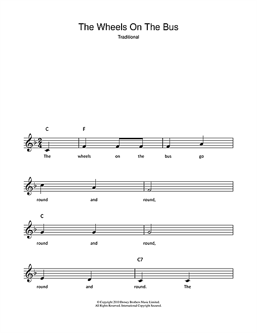 Traditional 'The Wheels On The Bus' Sheet Music Notes, Chords | Download  Printable Super Easy Piano - SKU: 179098