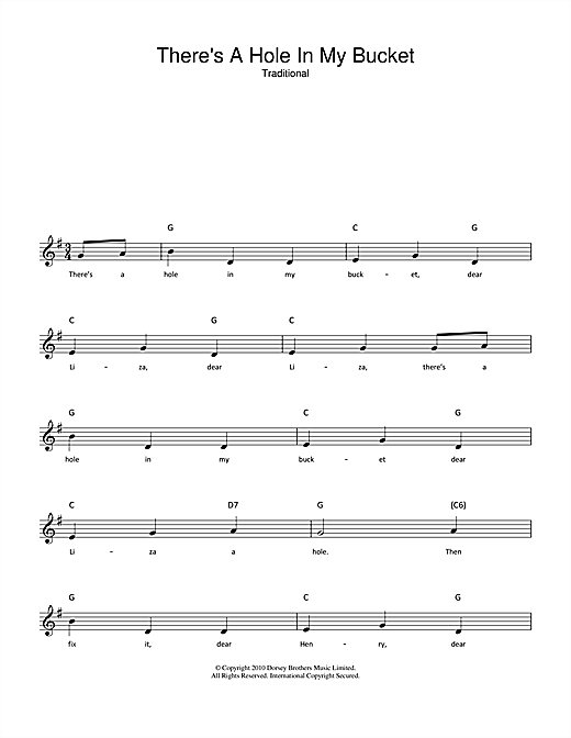 Traditional There's A Hole In My Bucket sheet music notes and chords. Download Printable PDF.