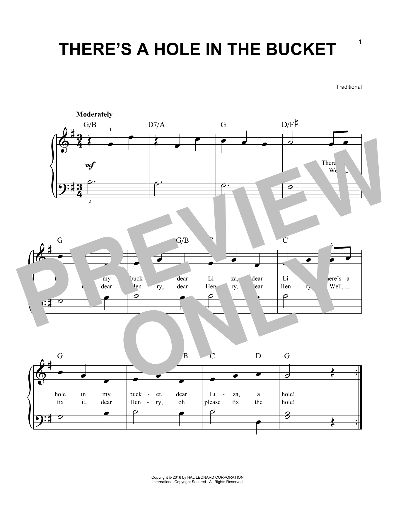 Traditional There's A Hole In The Bucket sheet music notes and chords. Download Printable PDF.