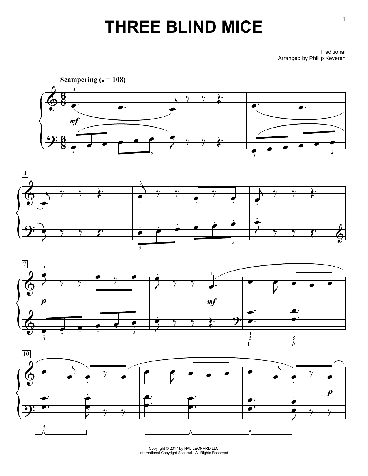Traditional Three Blind Mice [Classical version] (arr. Phillip Keveren) sheet music notes and chords. Download Printable PDF.