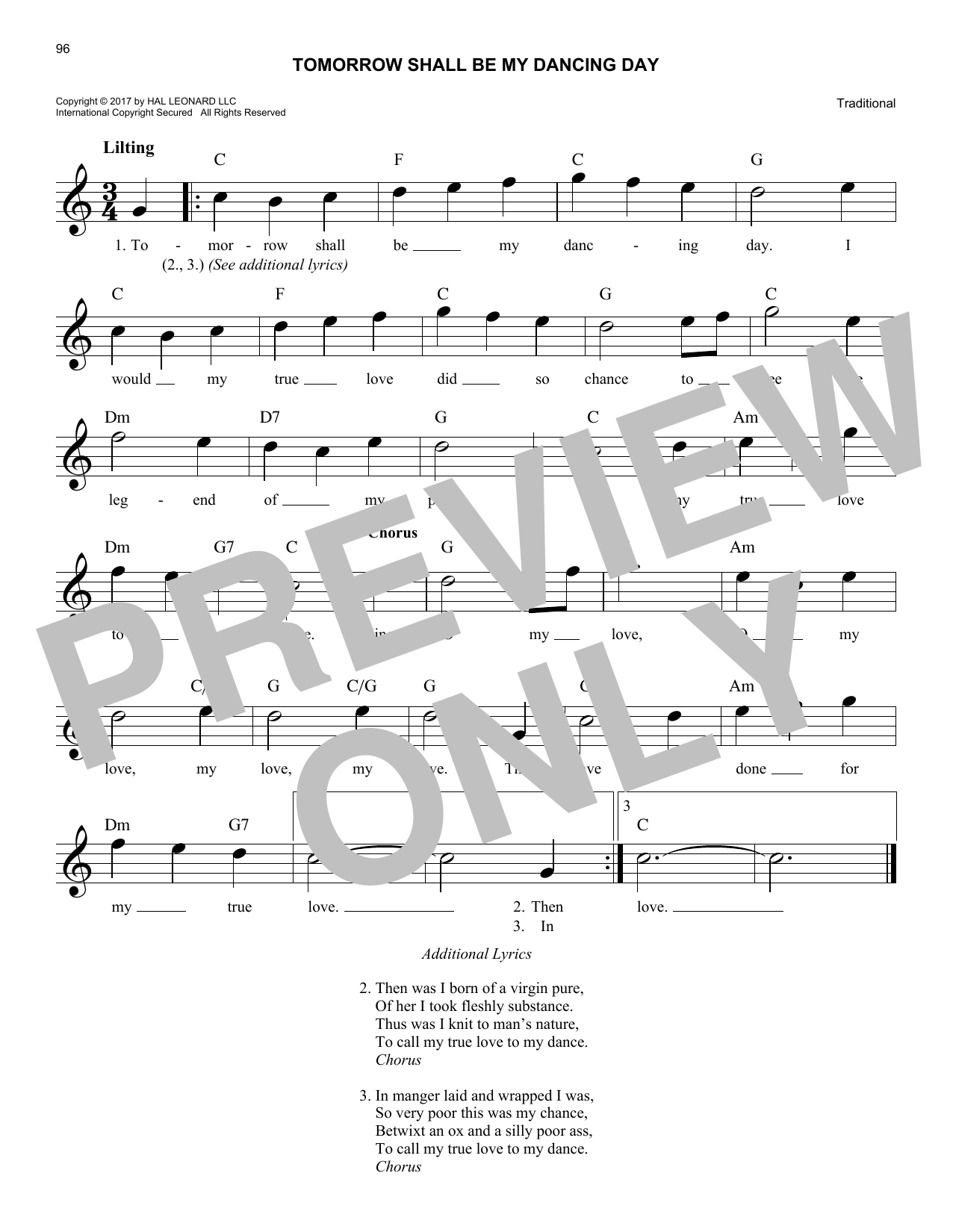 Traditional Tomorrow Shall Be My Dancing Day sheet music notes and chords. Download Printable PDF.