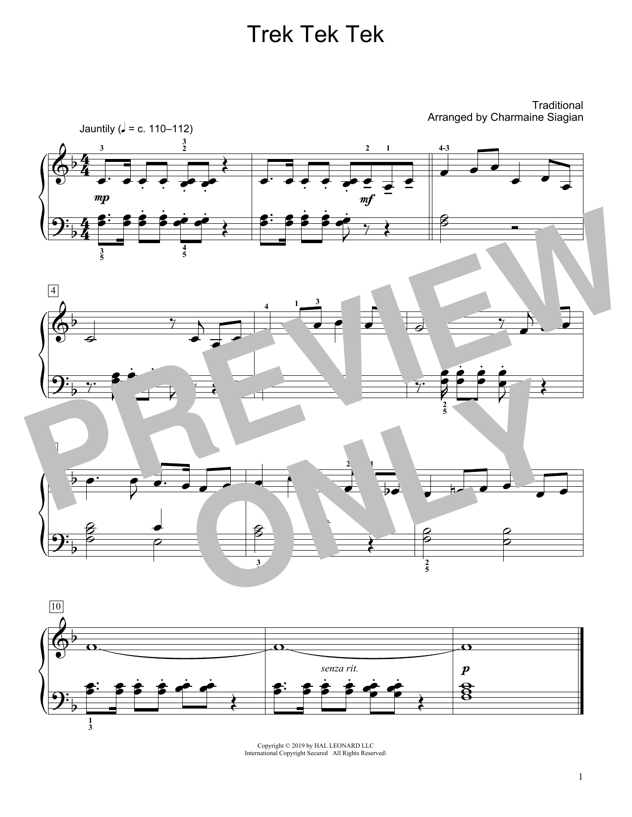 Traditional Trek Tek Tek (arr. Charmaine Siagian) sheet music notes and chords. Download Printable PDF.
