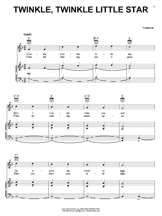 Traditional Twinkle, Twinkle Little Star sheet music notes and chords. Download Printable PDF.