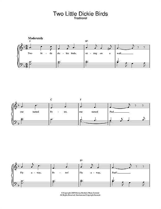 Traditional Two Little Dickie Birds sheet music notes and chords. Download Printable PDF.