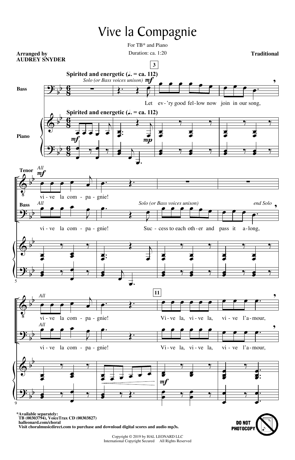 Traditional Vive La Compagnie (arr. Audrey Snyder) sheet music notes and chords. Download Printable PDF.