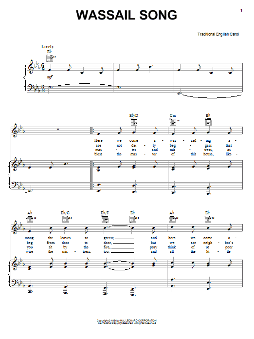 Christmas Carol Wassail Song sheet music notes and chords. Download Printable PDF.