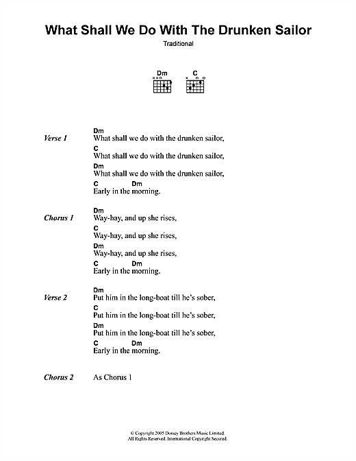 Traditional What Shall We Do With The Drunken Sailor sheet music notes and chords. Download Printable PDF.