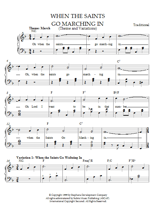 Traditional When The Saints Go Marching In (Theme and Variations) sheet music notes and chords. Download Printable PDF.