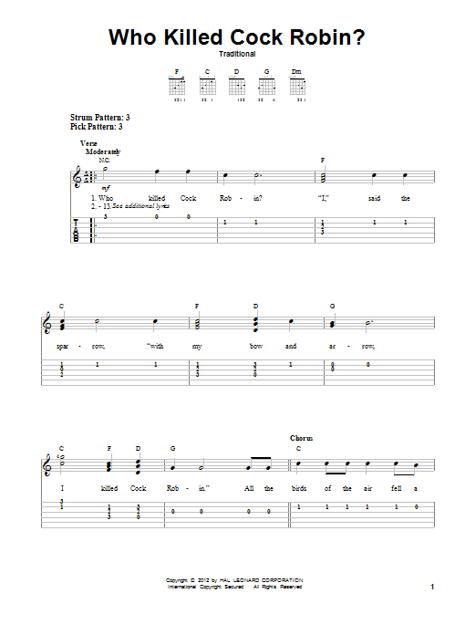 Traditional Who Killed Cock Robin? sheet music notes and chords. Download Printable PDF.