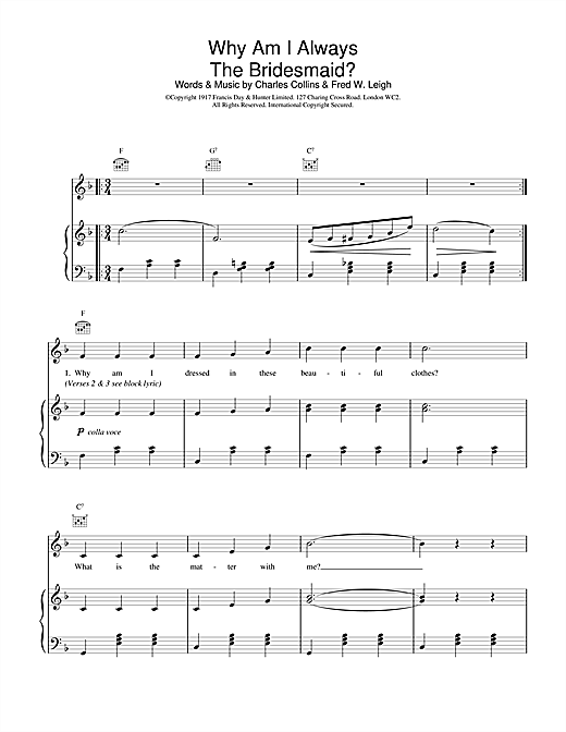 Traditional Why Am I Always The Bridesmaid? sheet music notes and chords