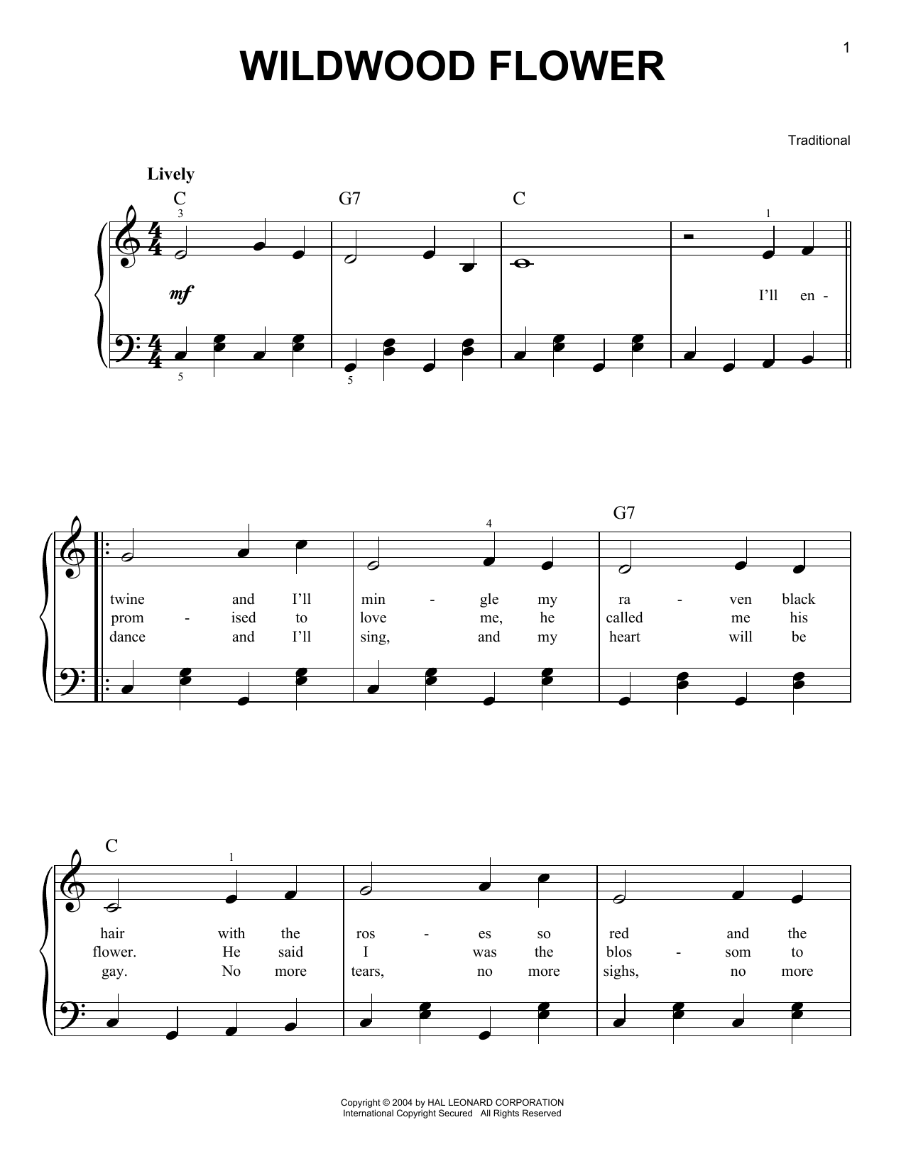 Traditional Wildwood Flower sheet music notes and chords. Download Printable PDF.