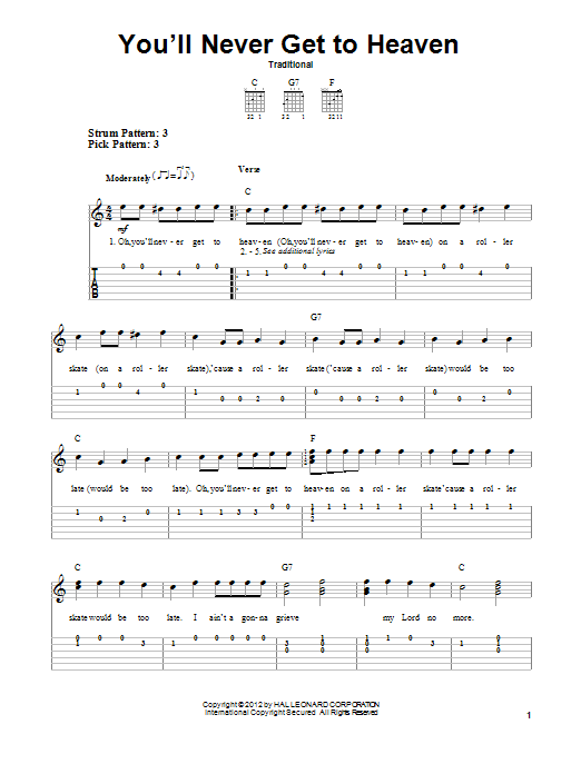 Traditional You'll Never Get To Heaven sheet music notes and chords. Download Printable PDF.