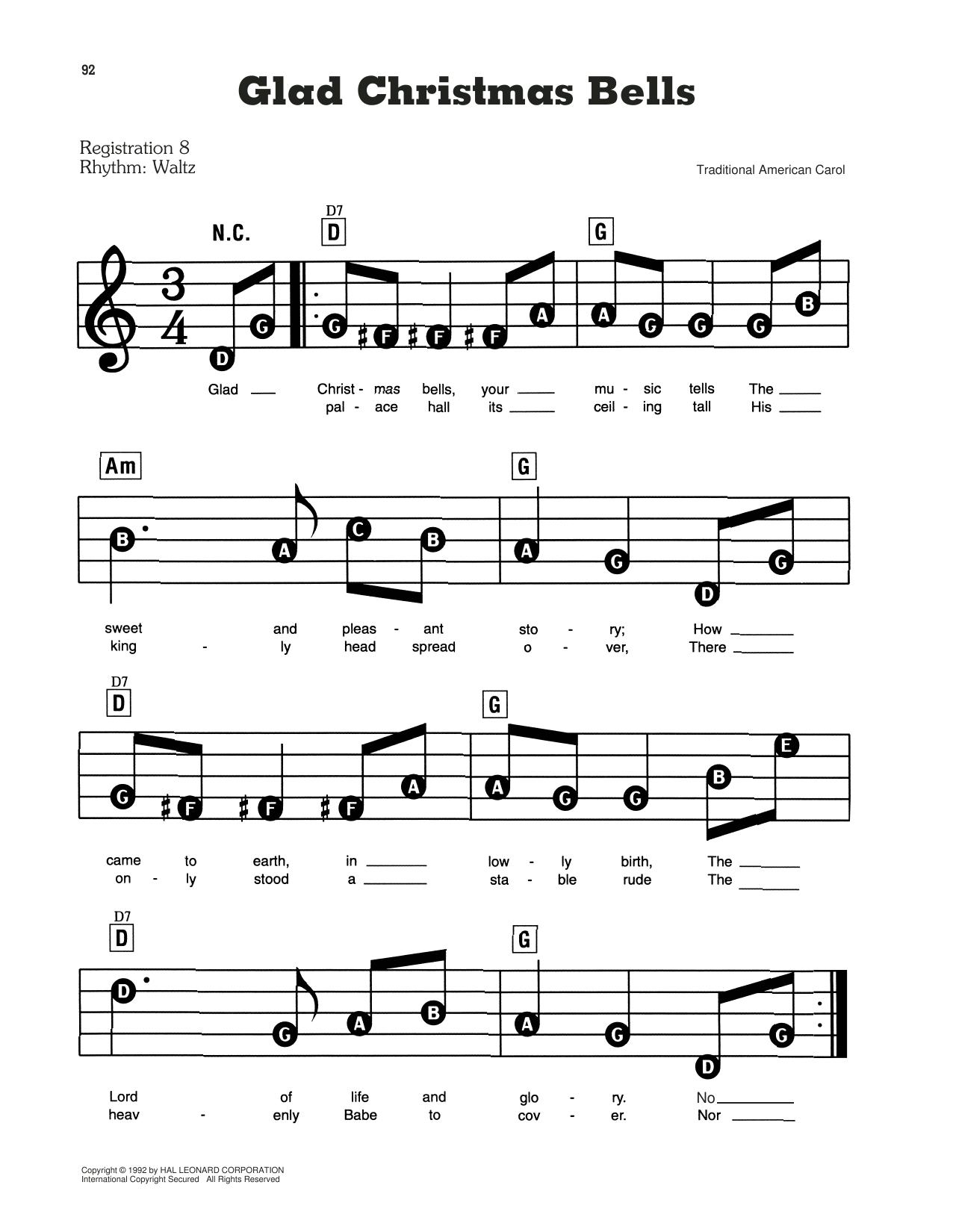Traditional Carol Glad Christmas Bells Sheet Music Notes, Chords   Download  Printable Easy Guitar Tab PDF Score   SKU 15