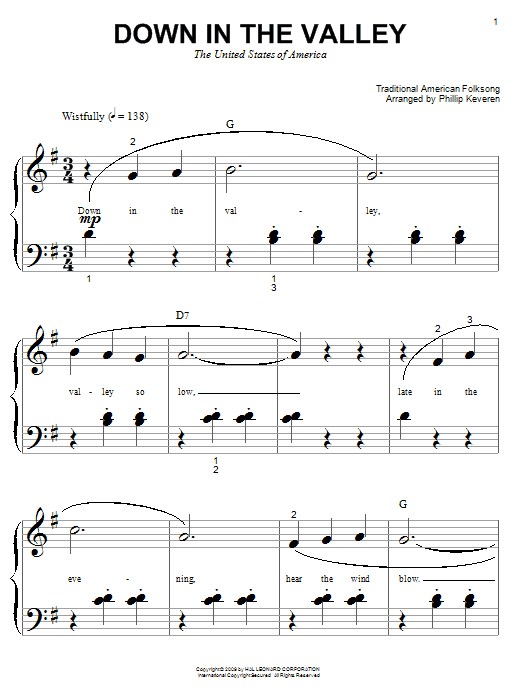 Traditional American Folksong Down In The Valley sheet music notes and chords