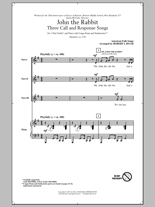 Traditional American Folksong Oh, John The Rabbit (arr. Robert I. Hugh) sheet music notes and chords. Download Printable PDF.