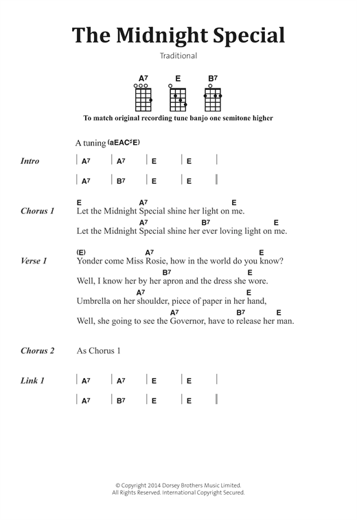 Traditional American Folksong The Midnight Special sheet music notes and chords