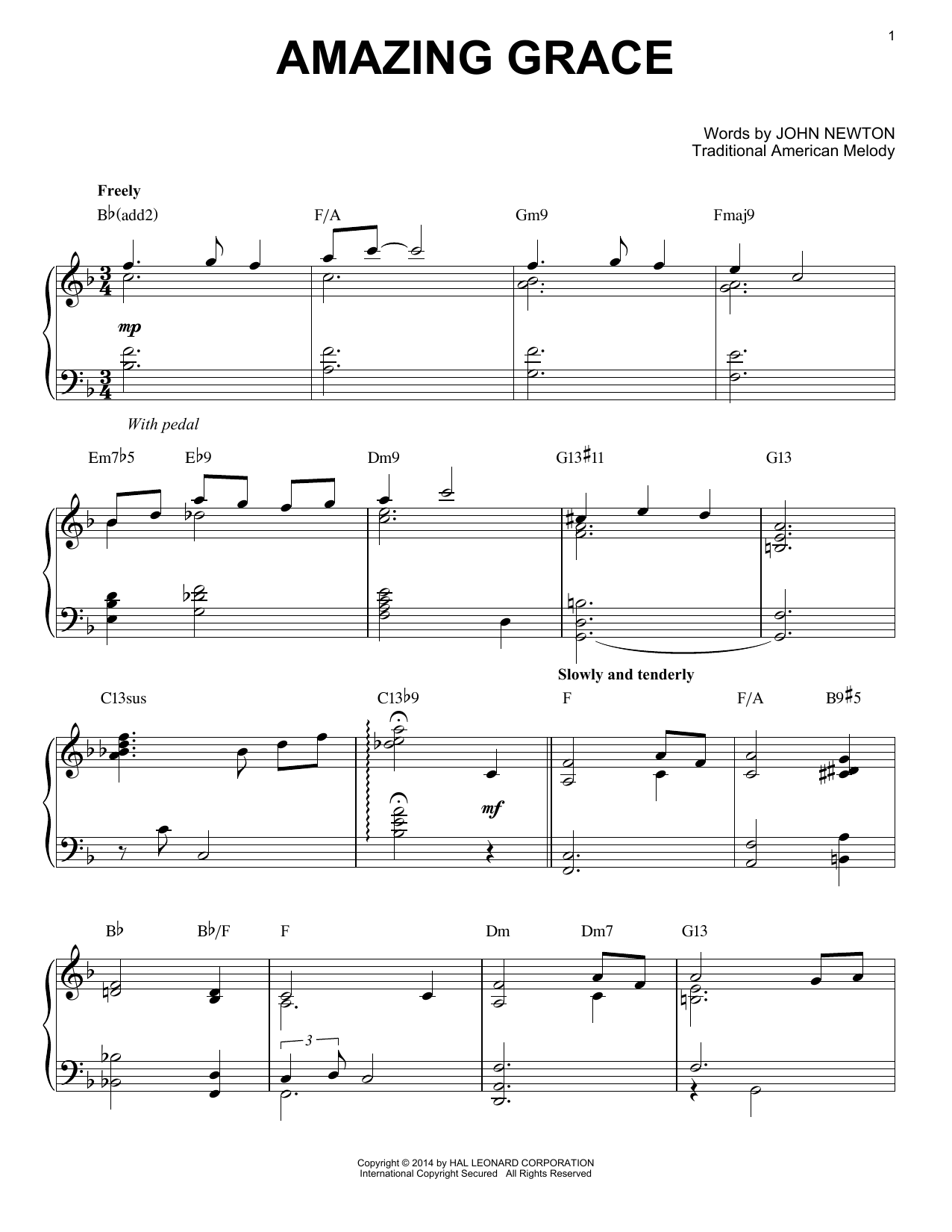 Traditional American Melody Amazing Grace sheet music notes and chords. Download Printable PDF.