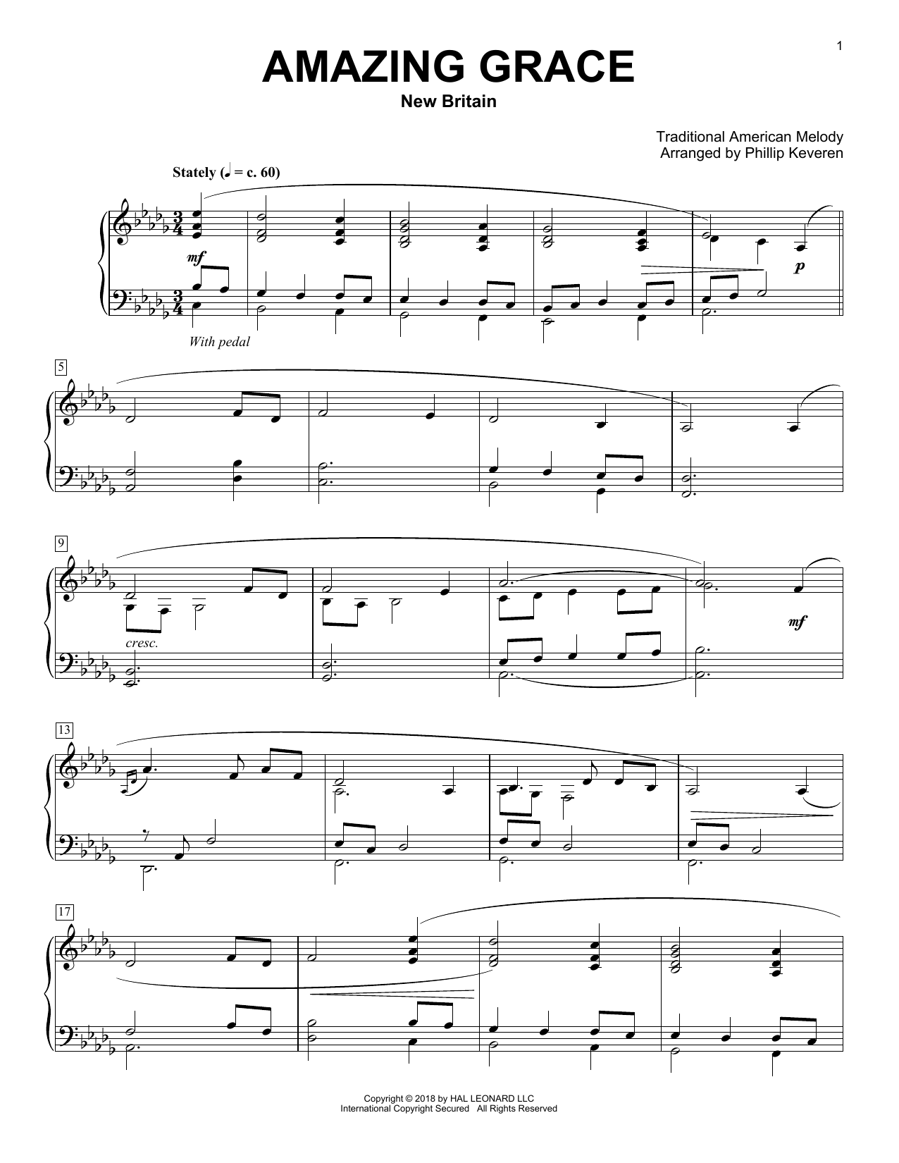 Traditional American Melody Amazing Grace [Classical version] (arr. Phillip Keveren) sheet music notes and chords. Download Printable PDF.