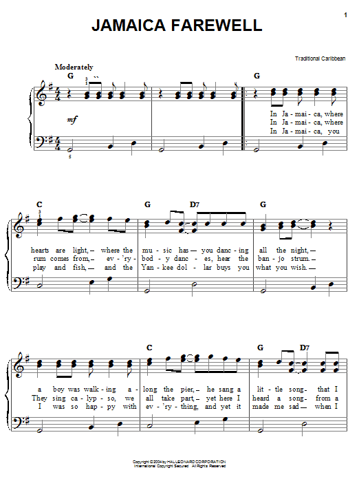 Traditional Caribbean Jamaica Farewell sheet music notes and chords. Download Printable PDF.