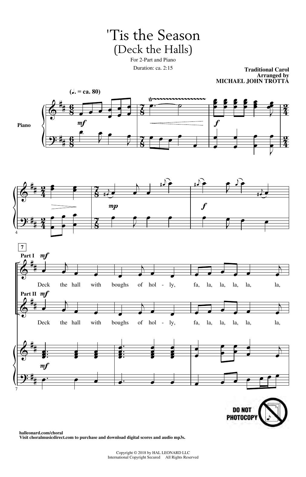 Traditional Carol 'Tis The Season (Deck The Halls) (arr. Michael John Trotta) sheet music notes and chords. Download Printable PDF.