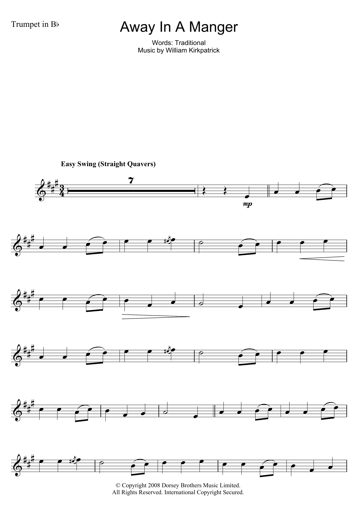 Christmas Carol Away In A Manger sheet music notes and chords. Download Printable PDF.