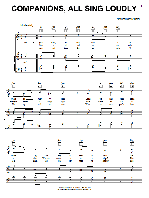 Traditional Carol Companions, All Sing Loudly sheet music notes and chords. Download Printable PDF.