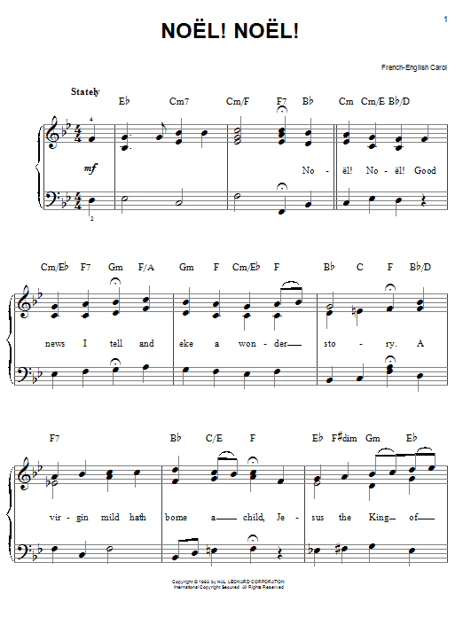 Traditional Carol Noel! Noel! sheet music notes and chords. Download Printable PDF.