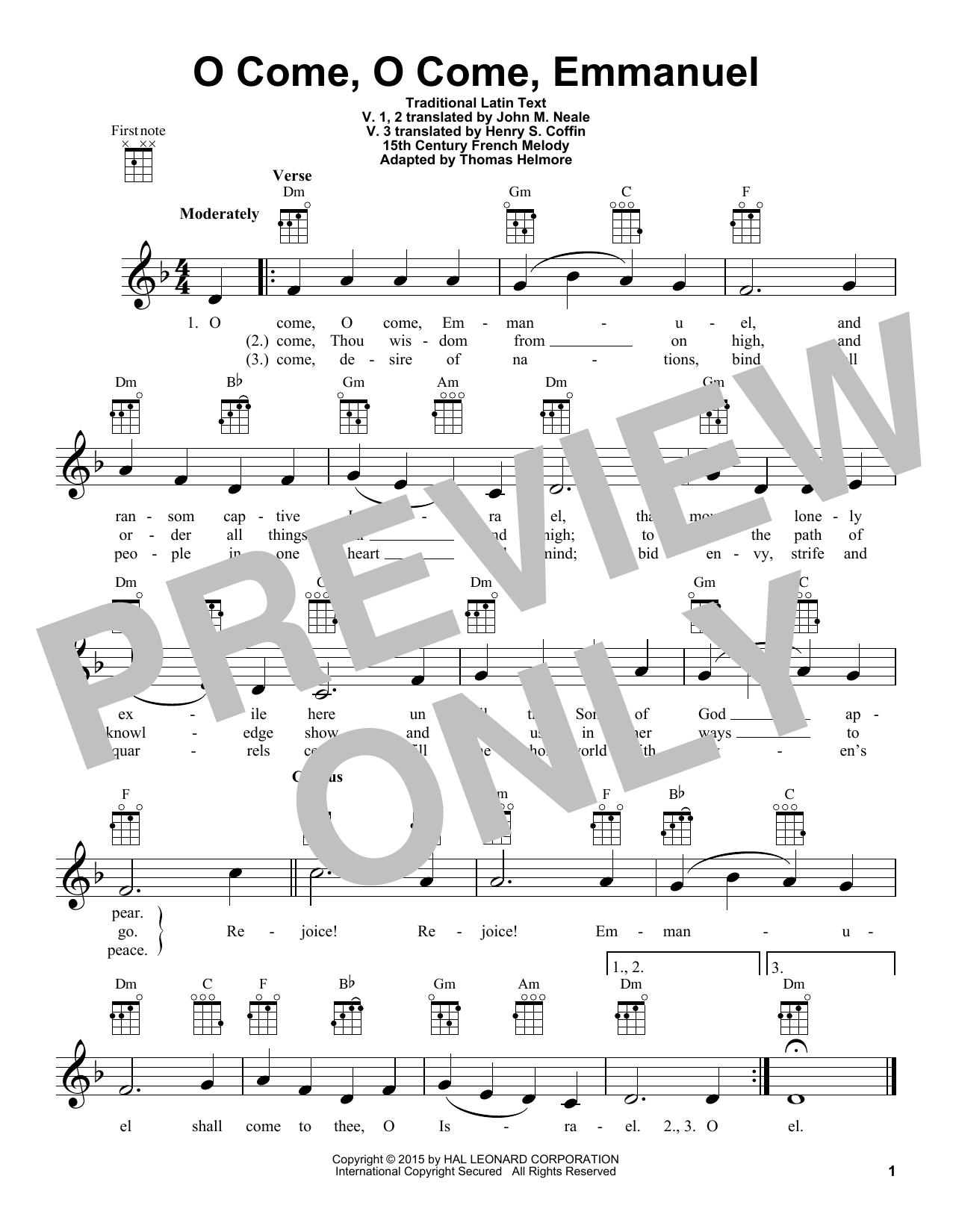 Traditional Carol O Come, O Come, Emmanuel sheet music notes and chords