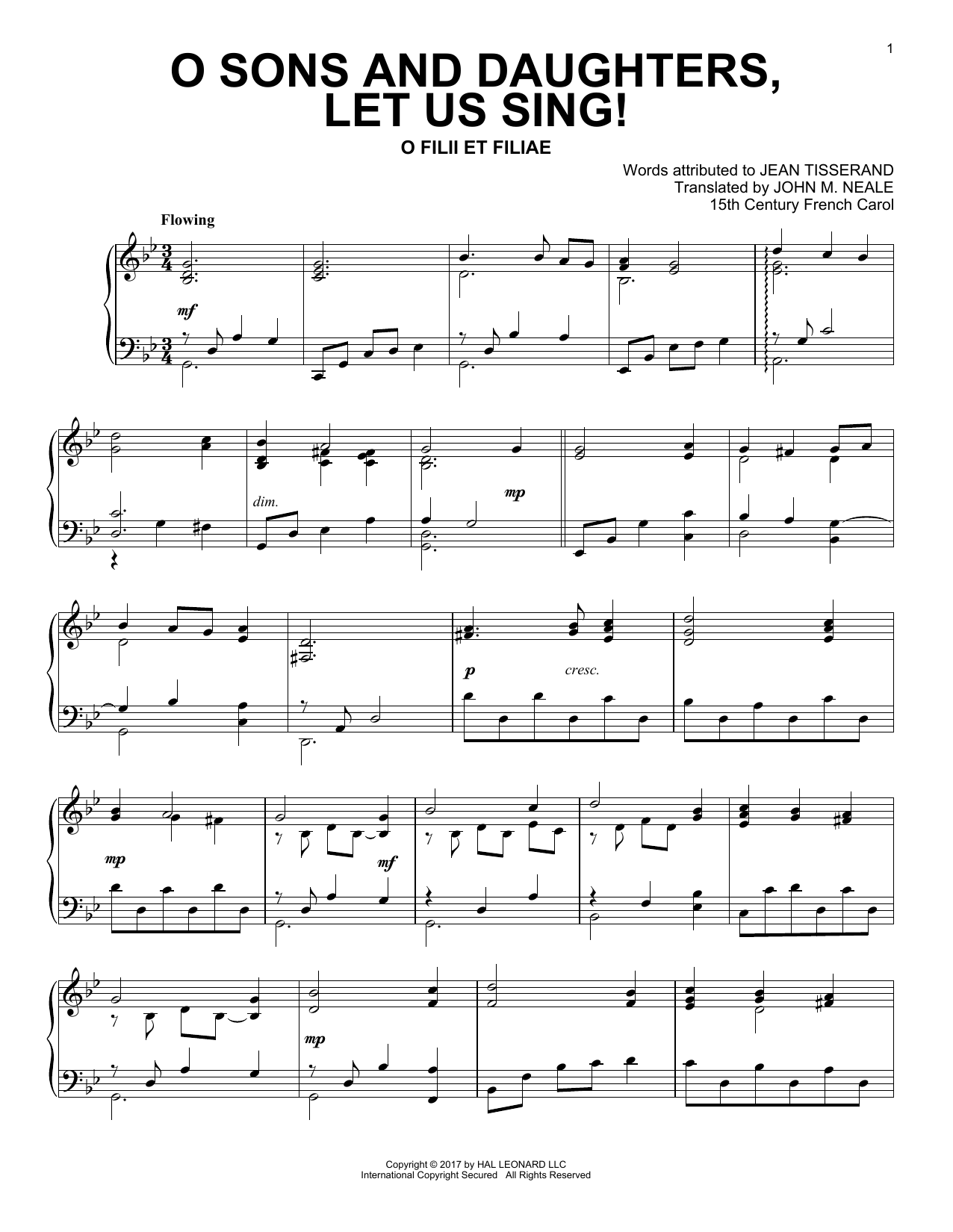 Traditional Carol O Sons And Daughters, Let Us Sing! sheet music notes and chords